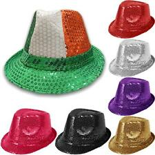UNISEX SEQUIN HAT FEDORA TRILBY GANGSTER GLITTER MICHAEL JACKSON FANCY DRESS CAP