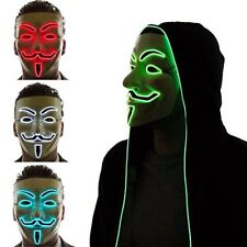 Light Up LED V for Vendetta Anonymous Guy Fawkes Costume Halloween Mask
