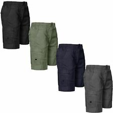 MENS CARGO COMBAT SHORTS ELASTICATED WAIST 6 POCKETS SUMMER BEACH COTTON PANTS