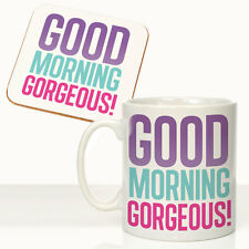 Cute Gift For Wife Girlfriend Fiancee Good Morning Gorgeous Mug Coaster Gift Set