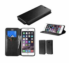 BLACK Leather Flip Wallet Hard Case Thin Cover Pouch For Apple iPhone
