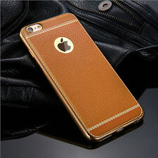 Slim Luxury Leather Plated TPU Back Cover Case Skin For iPhone Samsung