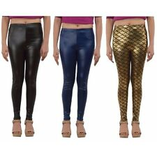 PU Coated Streachable Blue N Black Jegging N Mermaid Print Legging Combo Pack 3