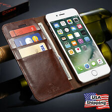 iPhone 7 & 7 Plus Genuine Leather Wallet Card Holder Flip Case Cover i
