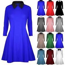 Ladies Womens Long Sleeve Swing Dress Peter Pan Collared Maternity Skater Dress