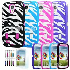 For Samsung Galaxy S4 i9500 Hybrid Zebra Rugged Rubber Hard Soft S IV Case Cove