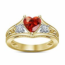 Women's Ring With Heart Shape Red Garnet 925 Sterling Silver 14K Gold Plated