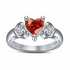 Girls Red Garnet Heart Stone&Round CZ Ring Platinum Plated 925 Sterling Silver