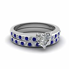 Women's Bridal Ring Set Heart Shape CZ 925 Sterling Silver Platinum Plated