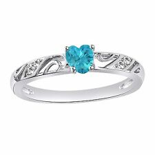 925 Sterling Silver Platinum Plated Heart Shape Aquamarine Women's Wedding Ring