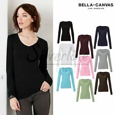 Bella+Canvas Sheer mini rib long sleeve v-neck t-shirt