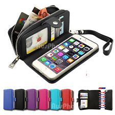 Magnetic Flip Leather Zipper Wallet Card Case Cover for iPhone 6 6S Pl