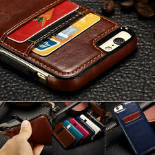 Luxury Leather Card Holder Wallet Slim Back Case Cover For iPhone 5S 6