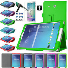 "Samsung Galaxy Tablet Leather Case Tab E 9.6"" T560 Tab A T580 + Tempered Glass"