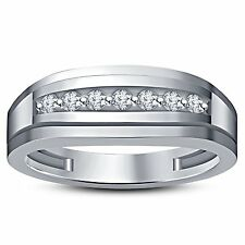 Round White CZ 925 Sterling Silver Seven stone Band Engagement Ring For men's