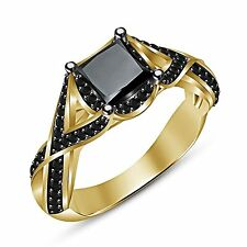 14k gold plated 925 sterling silver princess&round black CZ Women's Wedding Ring