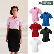 Russell Collection Women's short sleeve pure cotton easycare poplin shirt
