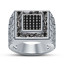 New Platinum Plated 925 Sterling Silver Black CZ Men's Special Kamasutra Ring