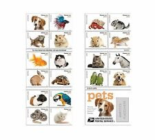 20 Forever USPS stamps Pets celebrate animals in our lives that bring joy com...