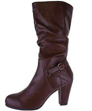 SALE Nine West Mid Calf COGNAC BROWN  Rouched Boots High Heel Elegant Sizes 3-8