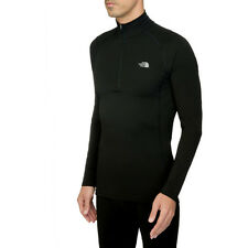 North Face Warm L S Zip Neck Mens Base Layer Top - Tnf Black All Sizes