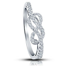 Platinum Plated 925 Sterling Silver White CZ Impressive Infinity Ring For Girl