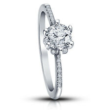 White Rhodium Plated 925 Sterling Silver American Diamond & CZ Solitaire Ring