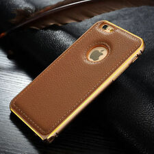 Luxury Aluminum Bumper Leather Back Case Cover For Apple iPhone 6 / Pl