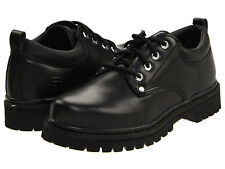 New Mens Skechers Utility Footwear Black Leather Alley Cats Oxford Shoes