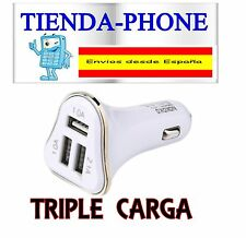 Cargador Mechero Coche Triple Doble USB Universal para Samsung iPhone LG Sony