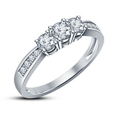 """Three Stone"" Engagement Ring American Diamond RD 925 New White Platinum Finish"