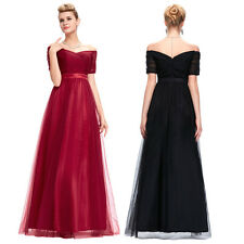 Long Satin Off Shoulder Formal Wedding Bridesmaid Evening Party Gowns Prom Dress