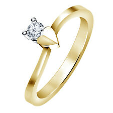 Wonderful Heart Shape 14K Gold Plated.925 Silver Solitaire Ring With CZ Diamond