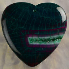 Electrifying Green Dragon Veins Agate 45x45x7mm Pendant Bead from USA Seller