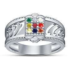 White Platinum Plated 925 Silver RD Cut  Multicolor CZ Navratna Ring For Men's
