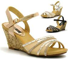 LADIES MID HEEL WEDGE SANDALS WOMENS DIAMANTE FANCY EVENING PARTY SHOES SIZE