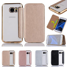 Luxury Card Wallet Flip Clear Hard Back Case Stand Cover For iPhone Sa