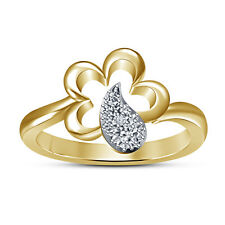 18K Gold Plated 925 Sterling Silver White Simulated Diamond Tear Drop Ring