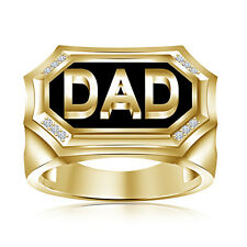 """Black Enamel 14K Gold Plated 925 Sterling Silver White CZ Exaggerated """"DAD"""" Ring"""