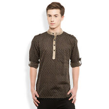 Svanik Black Self Design Cotton Casual Short Kurta. (SVCK1754)