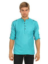 Svanik Men's Green Solid Casual Short Kurta (SVCK1399)