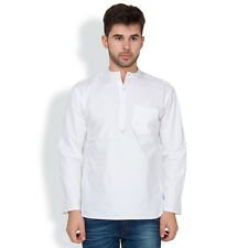 Svanik Men's White Cotton Solid Casual Short Kurta (SVCK1542)
