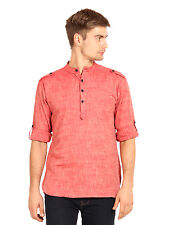 Svanik Men's Red Solid Casual Short Kurta (SVCK1205)