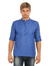 Svanik Men's Blue Solid Casual Short Kurta (SVCK1400)