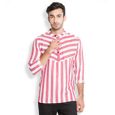 Svanik Off White Stripe Cotton Casual Short Kurta (SVCK1083)