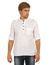 Svanik Men's White Solid Casual Short Kurta (SVCK1396)