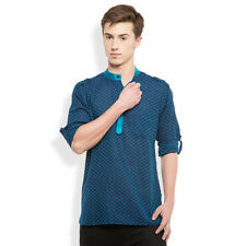 Svanik Navy Blue Self Design Cotton Casual Short Kurta. (SVCK1756)