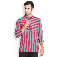 Svanik Grey Stripe Cotton Casual Short Kurta (SVCK1084)
