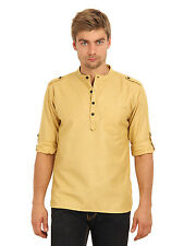 Svanik Men's Mustard Solid Casual Short Kurta (SVCK1397)