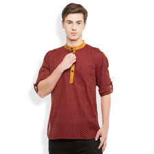 Svanik Red Self Design Cotton Casual Short Kurta. (SVCK1757)